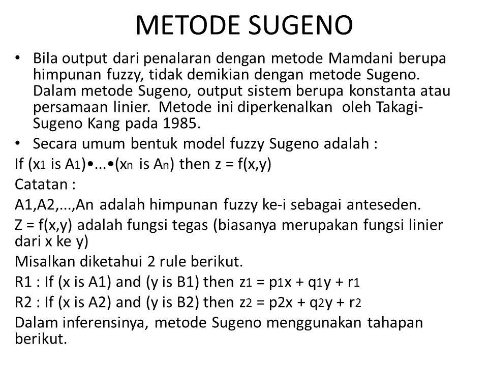 METODE SUGENO Bila output dari penalaran dengan metode Mamdani berupa himpunan fuzzy, tidak demikian dengan metode Sugeno.