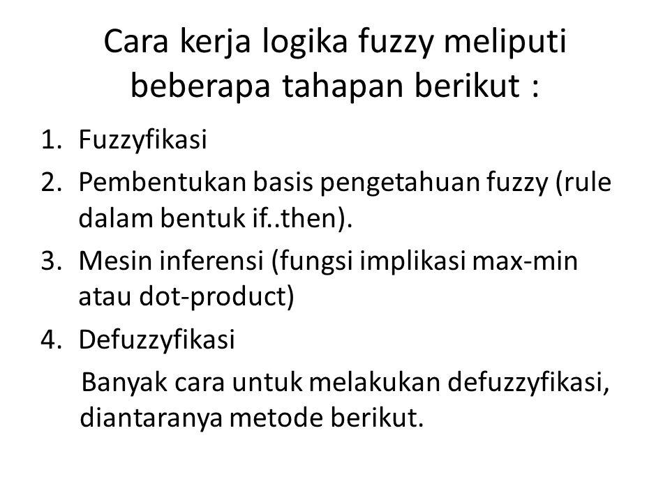 Cara kerja logika fuzzy meliputi beberapa tahapan berikut : 1.Fuzzyfikasi 2.Pembentukan basis pengetahuan fuzzy (rule dalam bentuk if..then). 3.Mesin