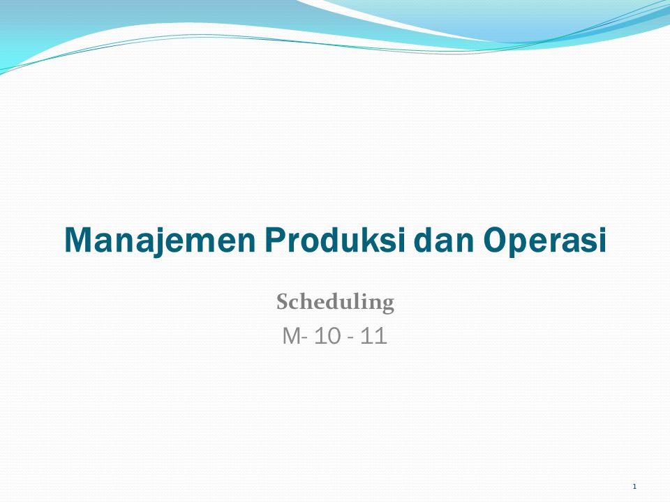Manajemen Produksi dan Operasi Scheduling M- 10 - 11 1