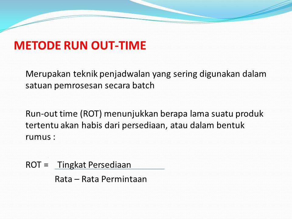 METODE RUN OUT-TIME Merupakan teknik penjadwalan yang sering digunakan dalam satuan pemrosesan secara batch Run-out time (ROT) menunjukkan berapa lama suatu produk tertentu akan habis dari persediaan, atau dalam bentuk rumus : ROT = Tingkat Persediaan Rata – Rata Permintaan