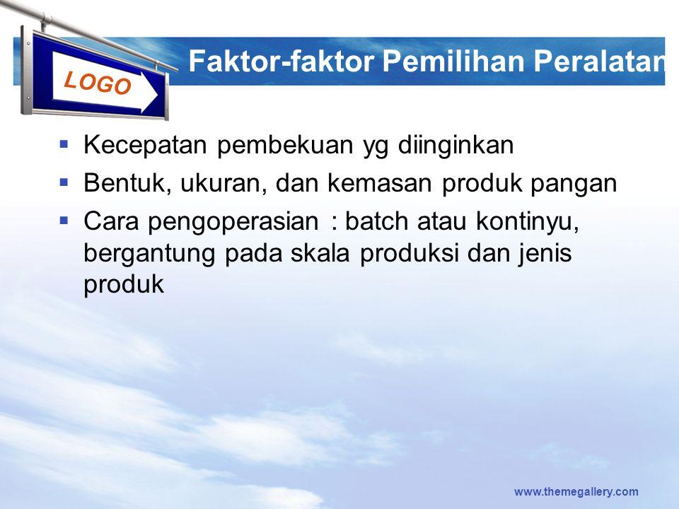 LOGO Faktor-faktor Pemilihan Peralatan  Kecepatan pembekuan yg diinginkan  Bentuk, ukuran, dan kemasan produk pangan  Cara pengoperasian : batch at
