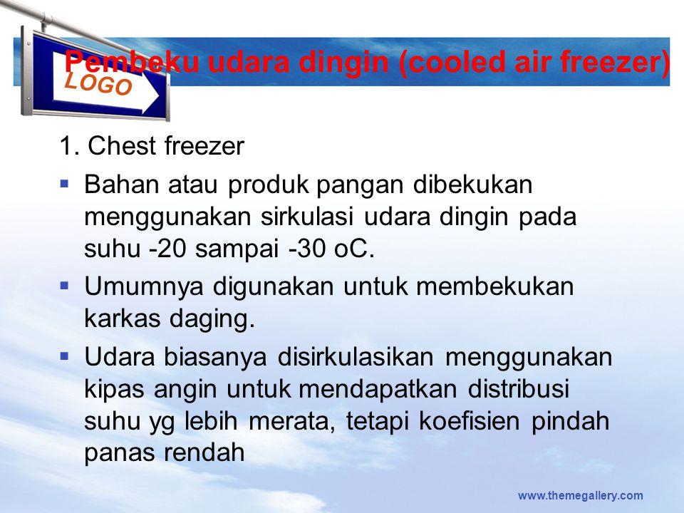 LOGO Pembeku udara dingin (cooled air freezer) 1. Chest freezer  Bahan atau produk pangan dibekukan menggunakan sirkulasi udara dingin pada suhu -20