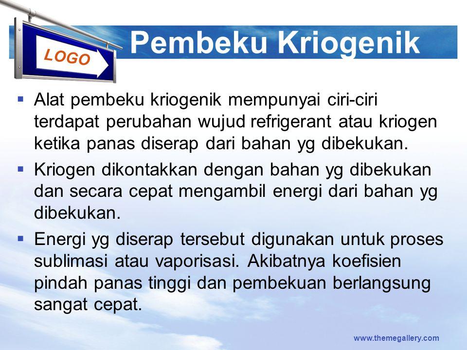 LOGO Pembeku Kriogenik  Alat pembeku kriogenik mempunyai ciri-ciri terdapat perubahan wujud refrigerant atau kriogen ketika panas diserap dari bahan
