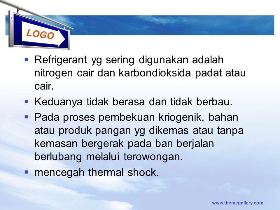 LOGO  Refrigerant yg sering digunakan adalah nitrogen cair dan karbondioksida padat atau cair.  Keduanya tidak berasa dan tidak berbau.  Pada prose