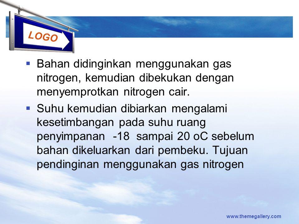 LOGO  Bahan didinginkan menggunakan gas nitrogen, kemudian dibekukan dengan menyemprotkan nitrogen cair.  Suhu kemudian dibiarkan mengalami kesetimb