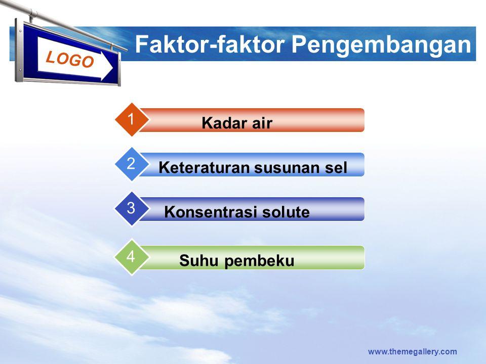 LOGO www.themegallery.com Faktor-faktor Pengembangan Kadar air 1 Keteraturan susunan sel 2 Konsentrasi solute 3 Suhu pembeku 4