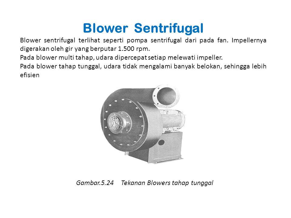 Blower Sentrifugal Blower sentrifugal terlihat seperti pompa sentrifugal dari pada fan. Impellernya digerakan oleh gir yang berputar 1.500 rpm. Pada b