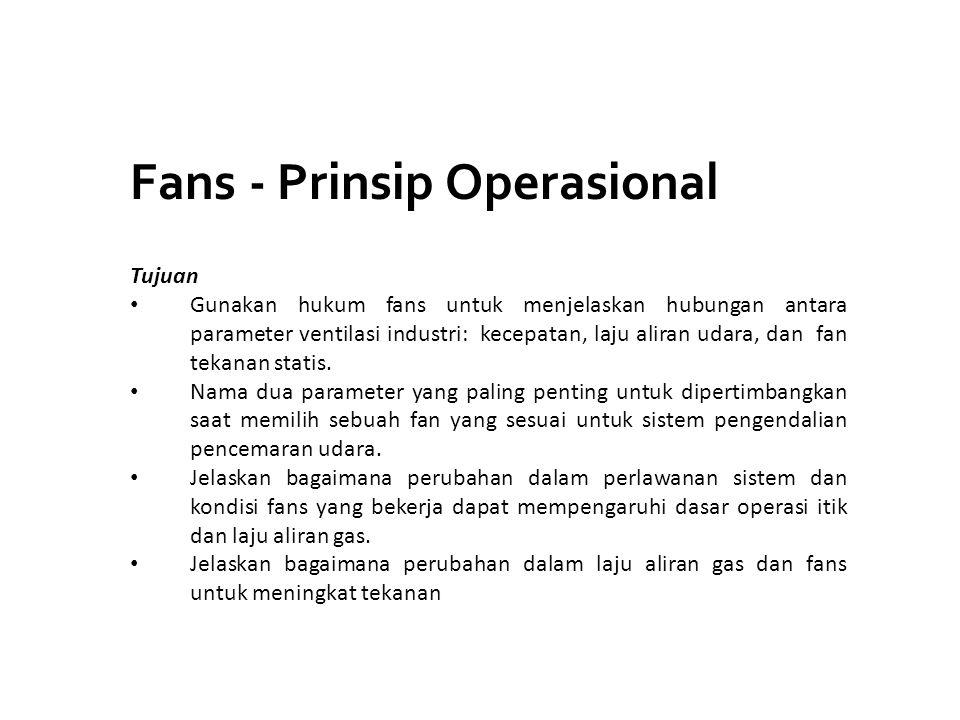 Fans - Prinsip Operasional Tujuan Gunakan hukum fans untuk menjelaskan hubungan antara parameter ventilasi industri: kecepatan, laju aliran udara, dan
