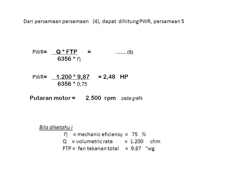 PWR = Q * FTP = ……. (5) 6356 * Ƞ Dari persamaan persamaan (4), dapat dihitung PWR, persamaan 5 Bila diketahu i Ƞ = mechanic eficiensy = 75 % Q = volum