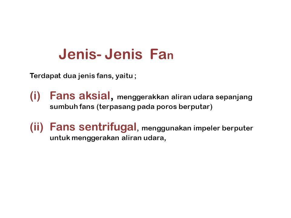 Jenis- Jenis Fa n Terdapat dua jenis fans, yaitu ; (i)Fans aksial, menggerakkan aliran udara sepanjang sumbuh fans (terpasang pada poros berputar) (ii