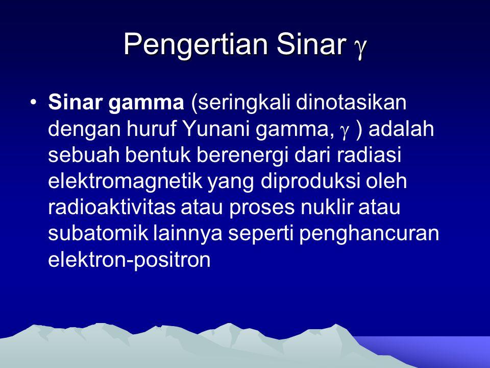 Pengertian Sinar  Sinar gamma (seringkali dinotasikan dengan huruf Yunani gamma,  ) adalah sebuah bentuk berenergi dari radiasi elektromagnetik yang