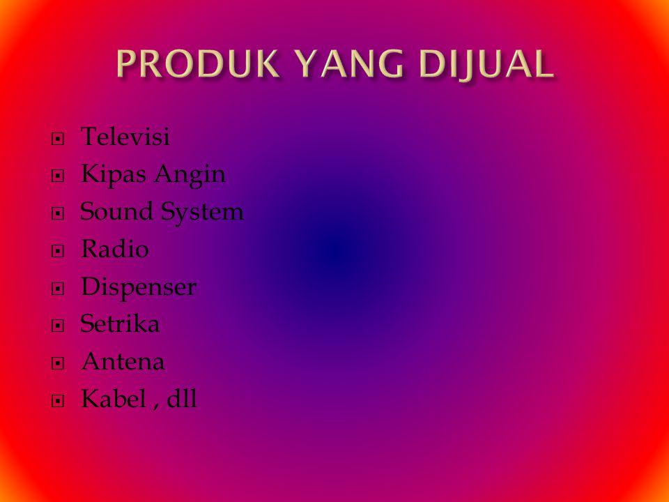  Televisi  Kipas Angin  Sound System  Radio  Dispenser  Setrika  Antena  Kabel, dll
