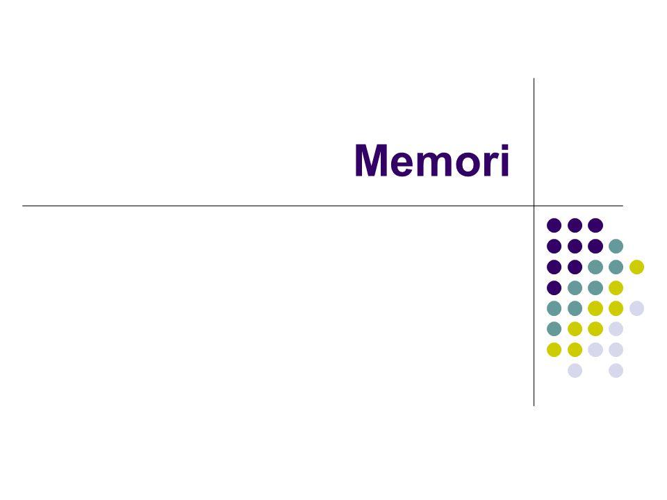 Flip-flop: memori 1-bit Register: memori n-bit, satu lokasi Memori: penyimpan data n-bit, m- lokasi Flip-flopRegister Memori m x n 4-bit 0 1 20101 1110 0001 LSB MSB LSBMSB m n
