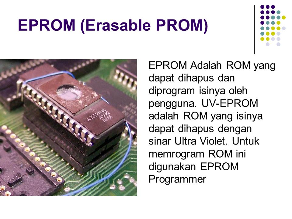 EPROM (Erasable PROM) EPROM Adalah ROM yang dapat dihapus dan diprogram isinya oleh pengguna. UV-EPROM adalah ROM yang isinya dapat dihapus dengan sin
