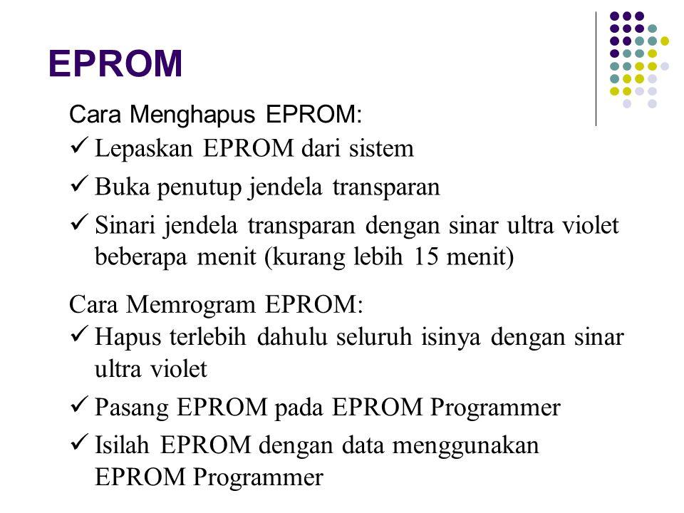 EPROM Cara Menghapus EPROM: Lepaskan EPROM dari sistem Buka penutup jendela transparan Sinari jendela transparan dengan sinar ultra violet beberapa me