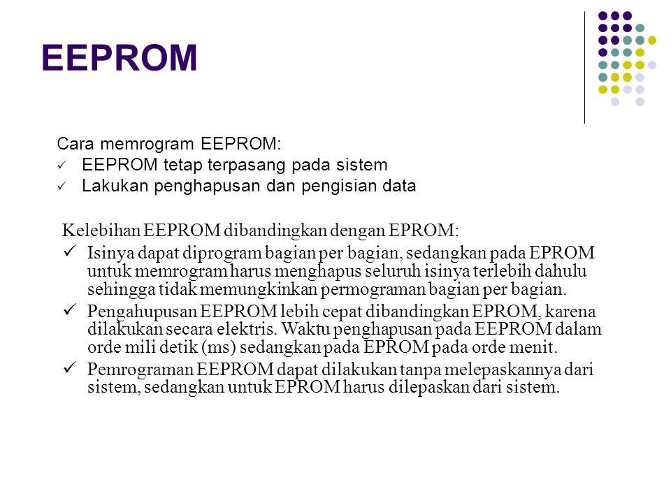 EEPROM Cara memrogram EEPROM: EEPROM tetap terpasang pada sistem Lakukan penghapusan dan pengisian data Kelebihan EEPROM dibandingkan dengan EPROM: Isinya dapat diprogram bagian per bagian, sedangkan pada EPROM untuk memrogram harus menghapus seluruh isinya terlebih dahulu sehingga tidak memungkinkan permograman bagian per bagian.