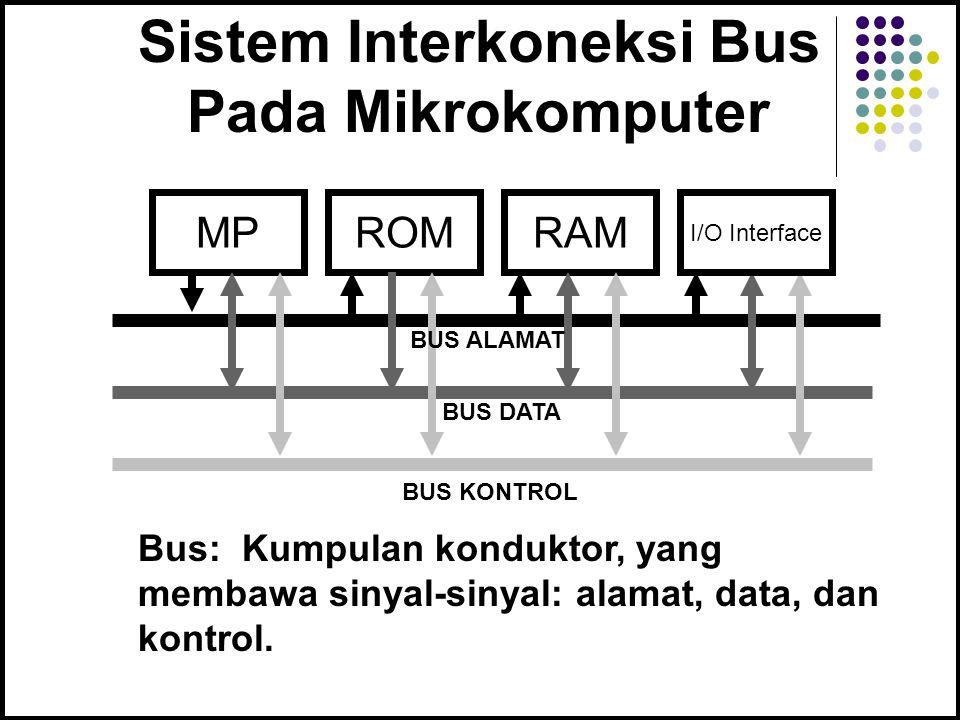 Sistem Interkoneksi Bus Pada Mikrokomputer MPROMRAM BUS ALAMAT BUS DATA BUS KONTROL Bus: Kumpulan konduktor, yang membawa sinyal-sinyal: alamat, data, dan kontrol.