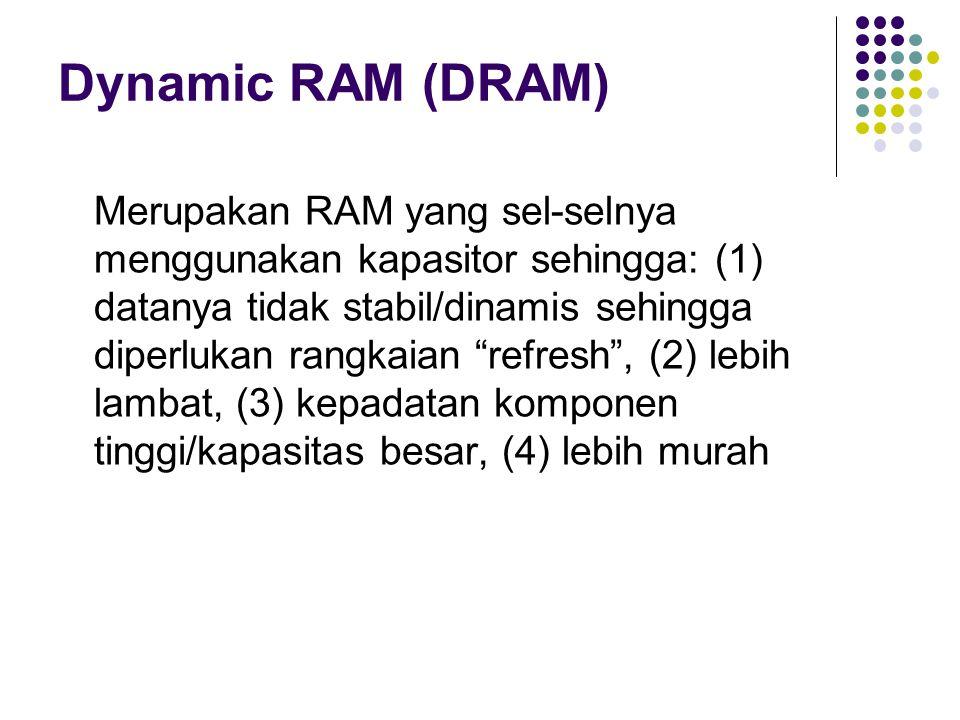 """Dynamic RAM (DRAM) Merupakan RAM yang sel-selnya menggunakan kapasitor sehingga: (1) datanya tidak stabil/dinamis sehingga diperlukan rangkaian """"refre"""