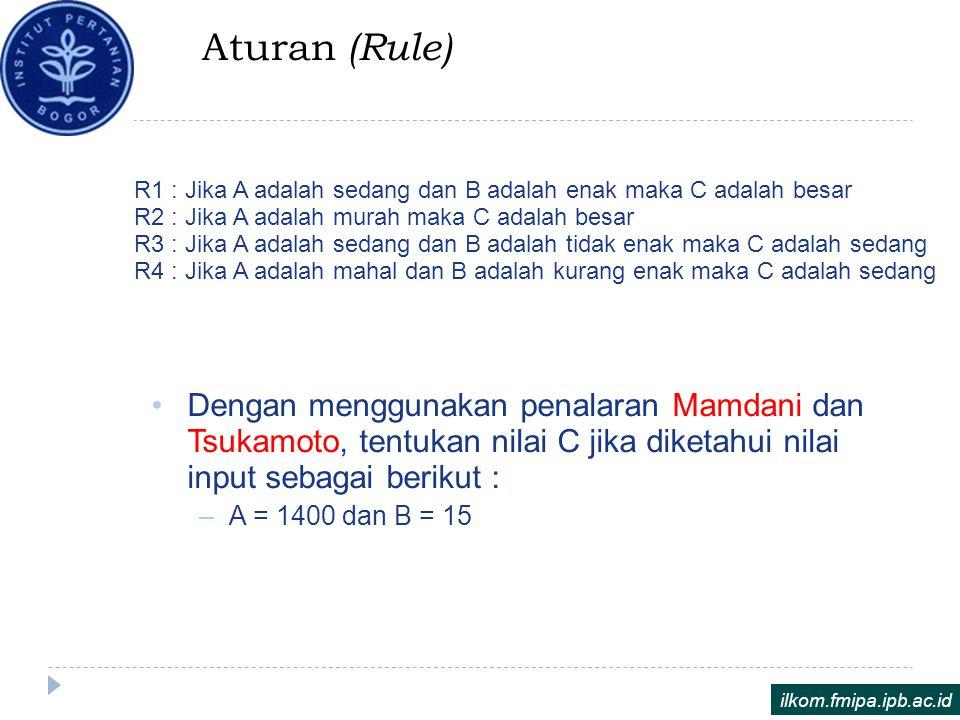 Aturan (Rule) R1 : Jika A adalah sedang dan B adalah enak maka C adalah besar R2 : Jika A adalah murah maka C adalah besar R3 : Jika A adalah sedang d