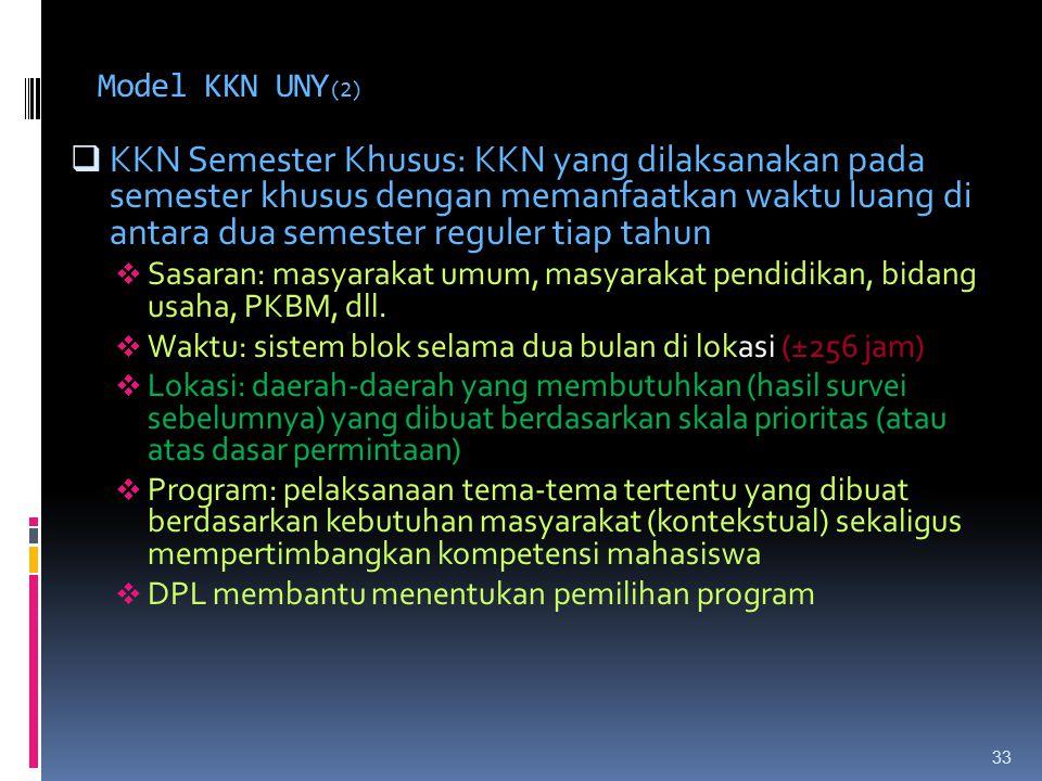 Model KKN UNY (2)  KKN Semester Khusus: KKN yang dilaksanakan pada semester khusus dengan memanfaatkan waktu luang di antara dua semester reguler tiap tahun  Sasaran: masyarakat umum, masyarakat pendidikan, bidang usaha, PKBM, dll.