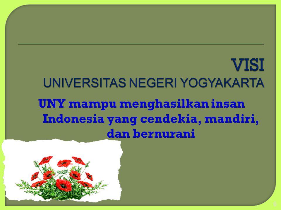 UNY mampu menghasilkan insan Indonesia yang cendekia, mandiri, dan bernurani 8