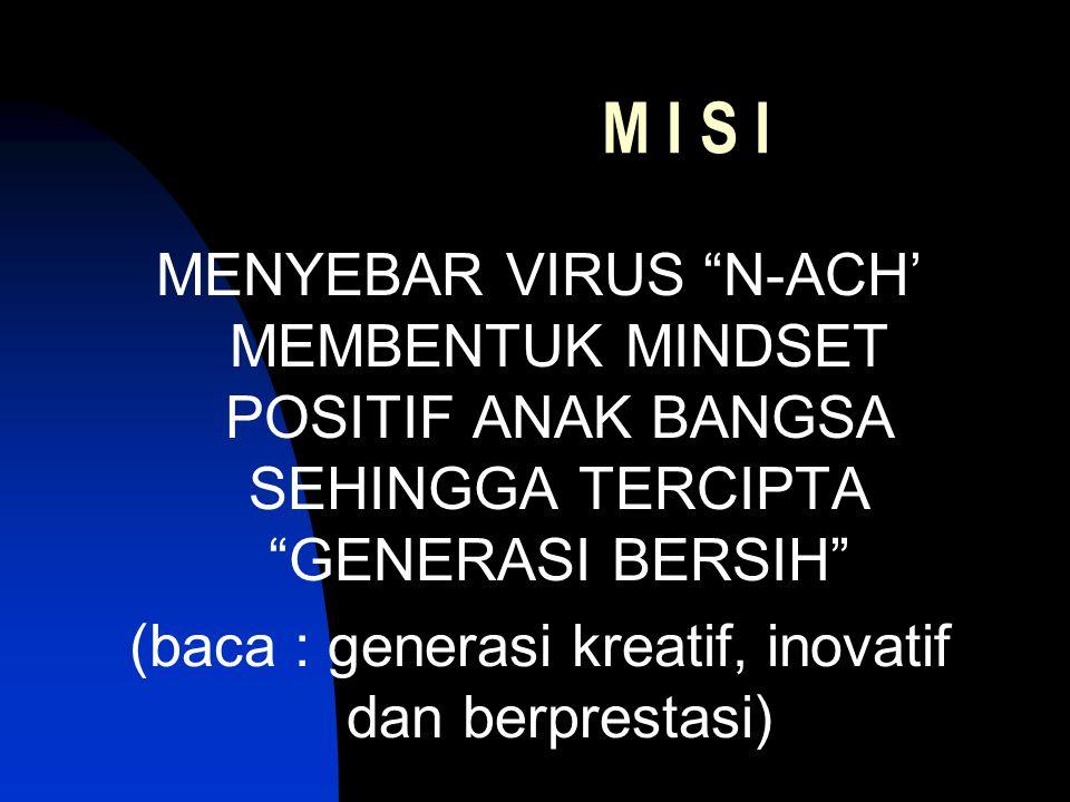 M I S I MENYEBAR VIRUS N-ACH' MEMBENTUK MINDSET POSITIF ANAK BANGSA SEHINGGA TERCIPTA GENERASI BERSIH (baca : generasi kreatif, inovatif dan berprestasi)