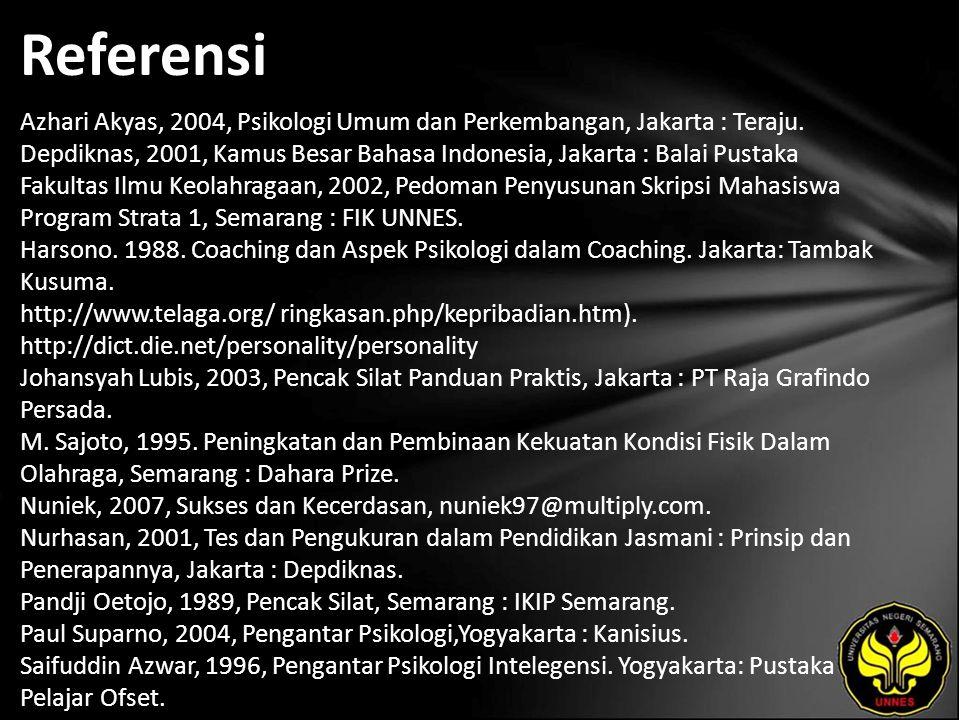 Referensi Azhari Akyas, 2004, Psikologi Umum dan Perkembangan, Jakarta : Teraju.