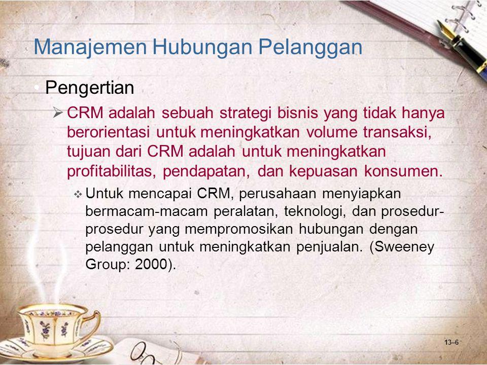 13–17 Manajemen Hubungan Pelanggan Komponen CRM  Customer  Customer (pelanggan) adalah segala pihak yang pernah, akan dan sedang merasakan produk jasa dan layanan yang diberikan perusahaan, baik dalam proses melihat, membeli dan pemeliharaan.