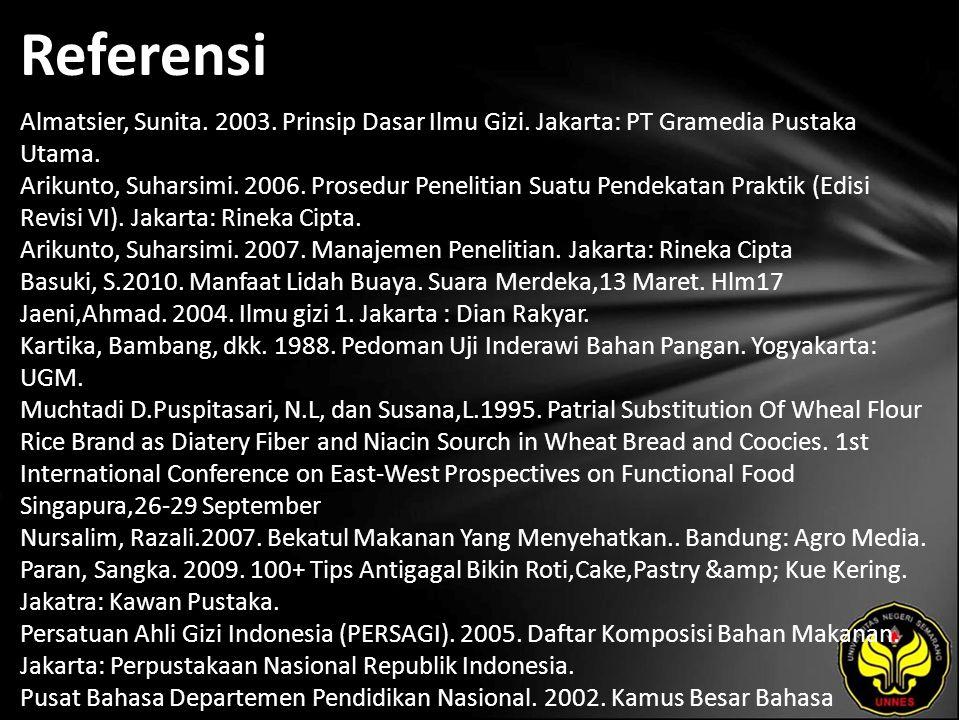 Referensi Almatsier, Sunita. 2003. Prinsip Dasar Ilmu Gizi. Jakarta: PT Gramedia Pustaka Utama. Arikunto, Suharsimi. 2006. Prosedur Penelitian Suatu P