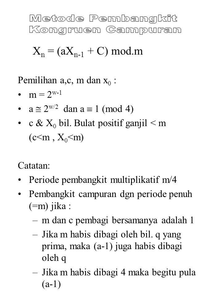 X n = (aX n-1 + C) mod.m Pemilihan a,c, m dan x 0 : m = 2 w-1 a  2 w/2 dan a  1 (mod 4) c & X 0 bil. Bulat positif ganjil < m (c<m, X 0 <m) Catatan: