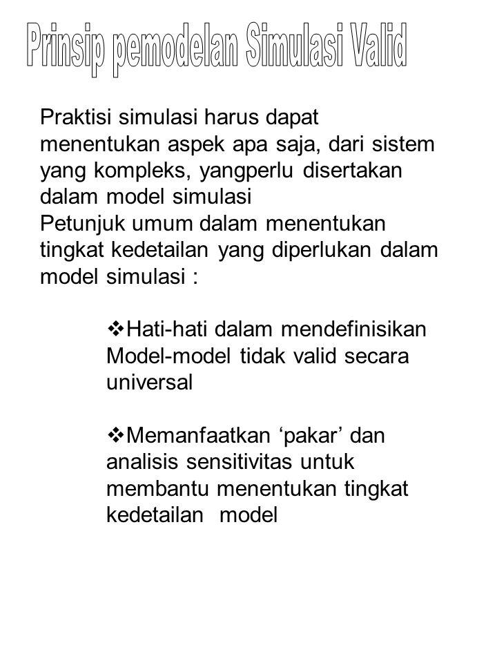 Praktisi simulasi harus dapat menentukan aspek apa saja, dari sistem yang kompleks, yangperlu disertakan dalam model simulasi Petunjuk umum dalam mene