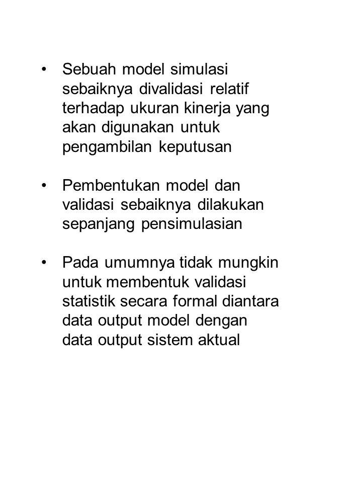 Sebuah model simulasi sebaiknya divalidasi relatif terhadap ukuran kinerja yang akan digunakan untuk pengambilan keputusan Pembentukan model dan valid