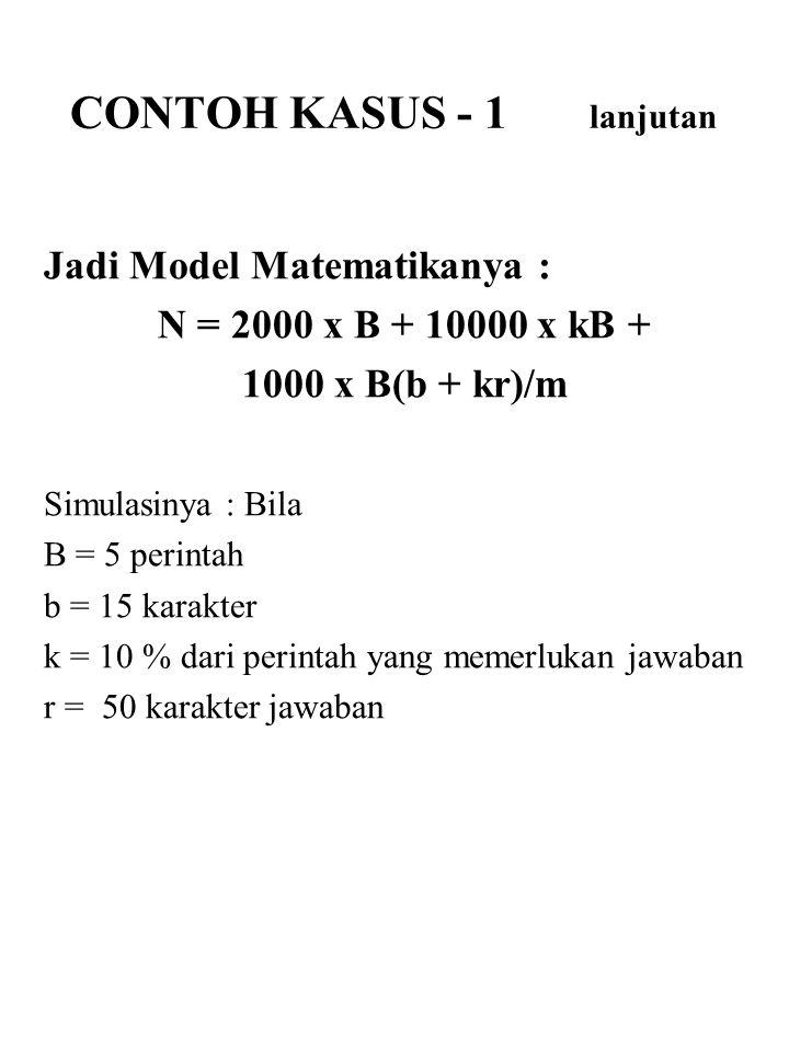 Jadi Model Matematikanya : N = 2000 x B + 10000 x kB + 1000 x B(b + kr)/m Simulasinya : Bila B = 5 perintah b = 15 karakter k = 10 % dari perintah yan
