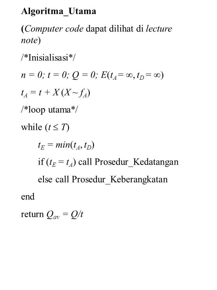 Algoritma_Utama (Computer code dapat dilihat di lecture note) /*Inisialisasi*/ n = 0; t = 0; Q = 0; E(t A = , t D =  ) t A = t + X (X ~ f A ) /*loop