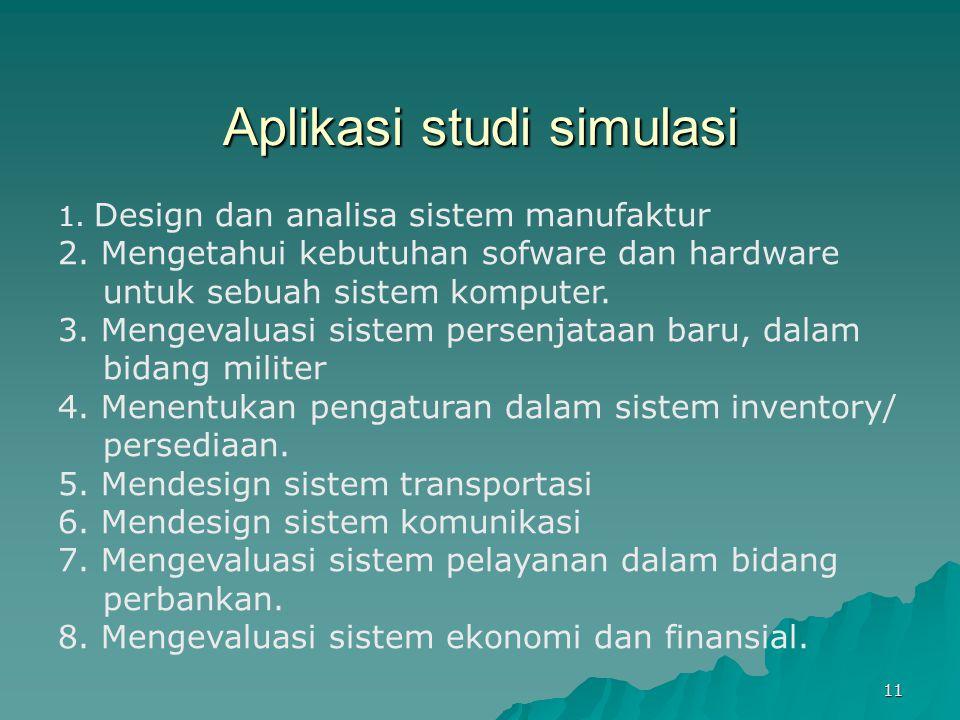 Aplikasi studi simulasi 1. Design dan analisa sistem manufaktur 2. Mengetahui kebutuhan sofware dan hardware untuk sebuah sistem komputer. 3. Mengeval