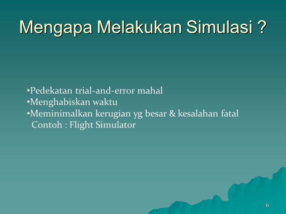 Mengapa Melakukan Simulasi ? Pedekatan trial-and-error mahal Menghabiskan waktu Meminimalkan kerugian yg besar & kesalahan fatal Contoh : Flight Simul