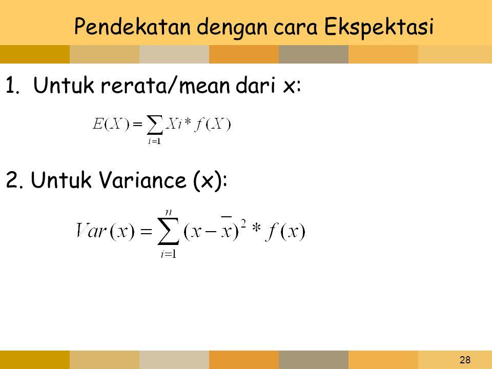 28 Pendekatan dengan cara Ekspektasi 1.Untuk rerata/mean dari x: 2. Untuk Variance (x):