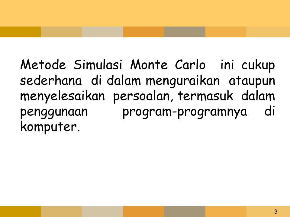 3 Metode Simulasi Monte Carlo ini cukup sederhana di dalam menguraikan ataupun menyelesaikan persoalan, termasuk dalam penggunaan program-programnya d