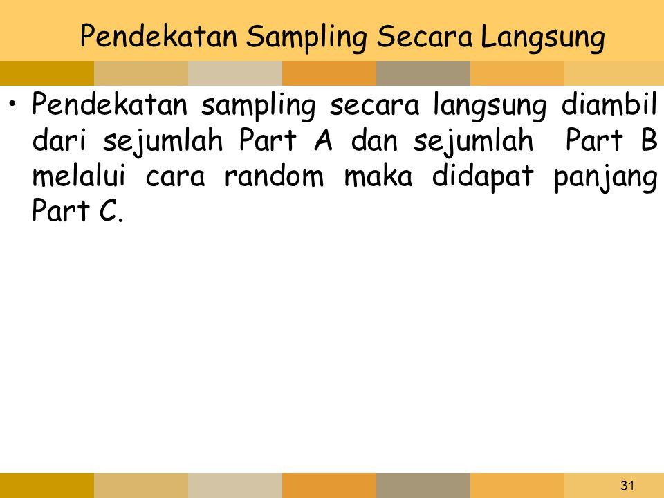 31 Pendekatan Sampling Secara Langsung Pendekatan sampling secara langsung diambil dari sejumlah Part A dan sejumlah Part B melalui cara random maka d
