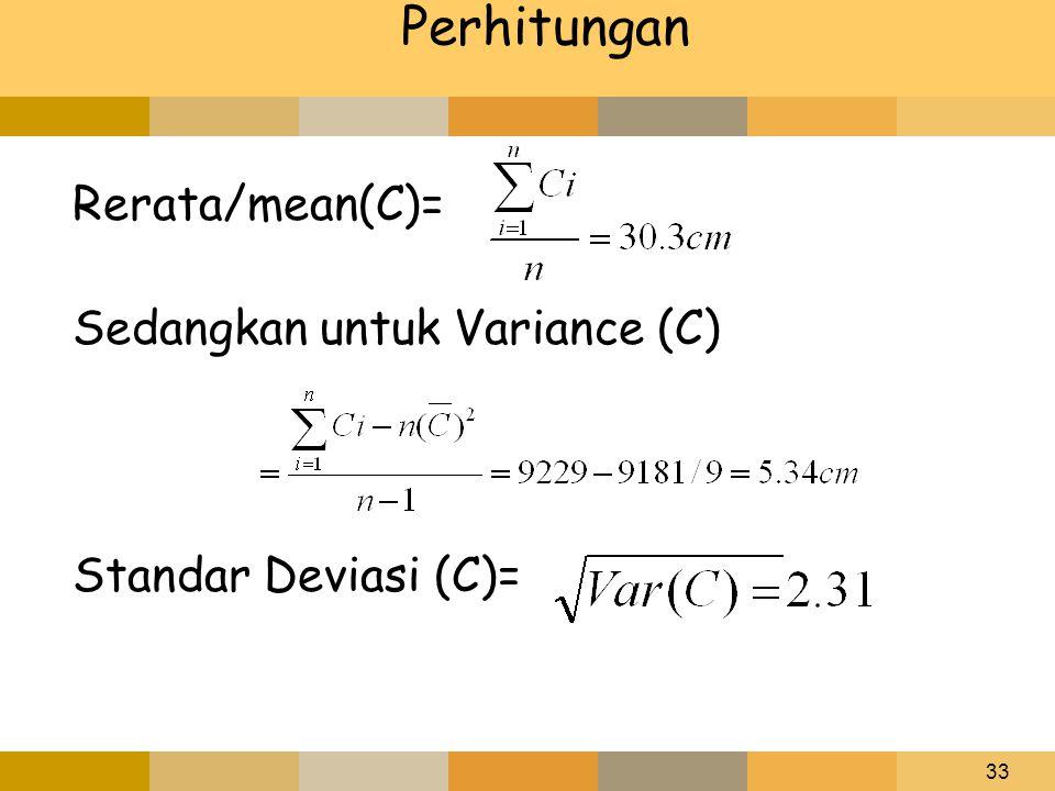33 Perhitungan Rerata/mean(C)= Sedangkan untuk Variance (C) Standar Deviasi (C)=