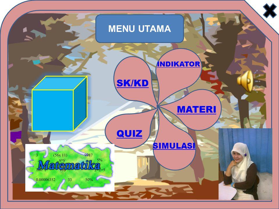 SK/KD INDIKATOR MATERI SIMULASI QUIZ MULTIMEDIA PEMBELAJARAN MATEMATIKA SMP KUBUS SK : Memahami sifat-sifat kubus,balok,prisma,limas dan bagian-bagiannya serta menentukan ukurannya.