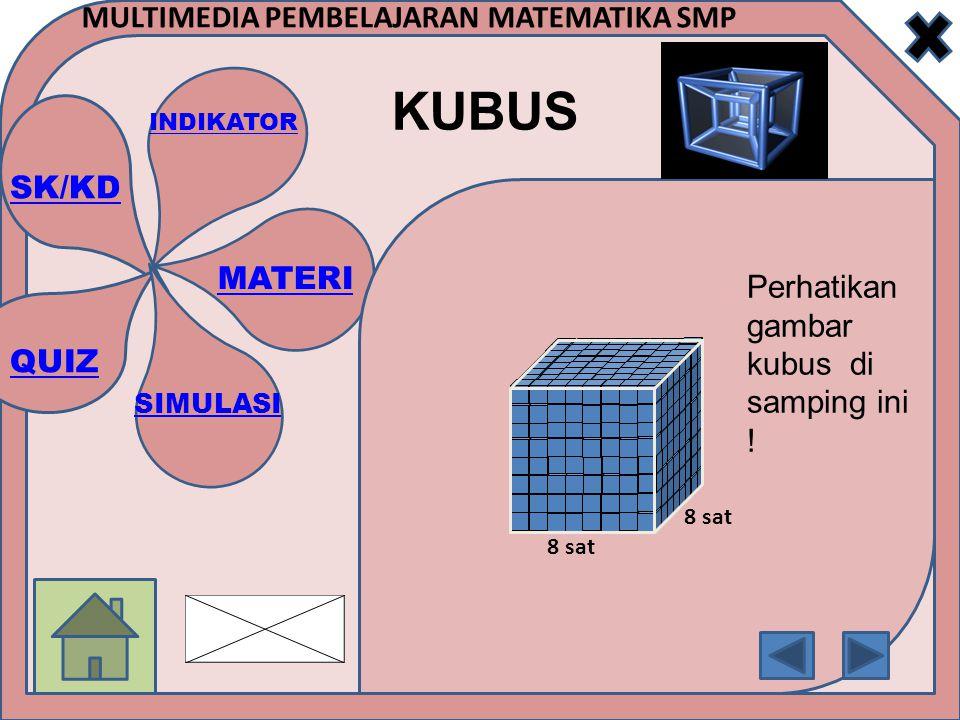 SK/KD INDIKATOR MATERI SIMULASI QUIZ MULTIMEDIA PEMBELAJARAN MATEMATIKA SMP KUBUS 8 sat Perhatikan gambar kubus di samping ini !