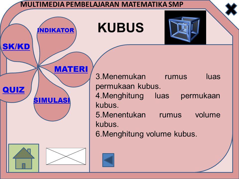 SK/KD INDIKATOR MATERI SIMULASI QUIZ MULTIMEDIA PEMBELAJARAN MATEMATIKA SMP KUBUS Kubus adalah sebuah benda ruang yang dibatasi oleh 6 bidang datar yang masing-masing berbentuk persegi yang sama dan sebangun atau kongruen.