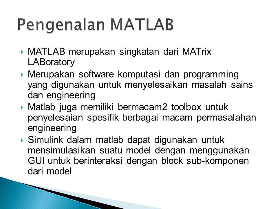  MATLAB merupakan singkatan dari MATrix LABoratory  Merupakan software komputasi dan programming yang digunakan untuk menyelesaikan masalah sains dan engineering  Matlab juga memiliki bermacam2 toolbox untuk penyelesaian spesifik berbagai macam permasalahan engineering  Simulink dalam matlab dapat digunakan untuk mensimulasikan suatu model dengan menggunakan GUI untuk berinteraksi dengan block sub-komponen dari model