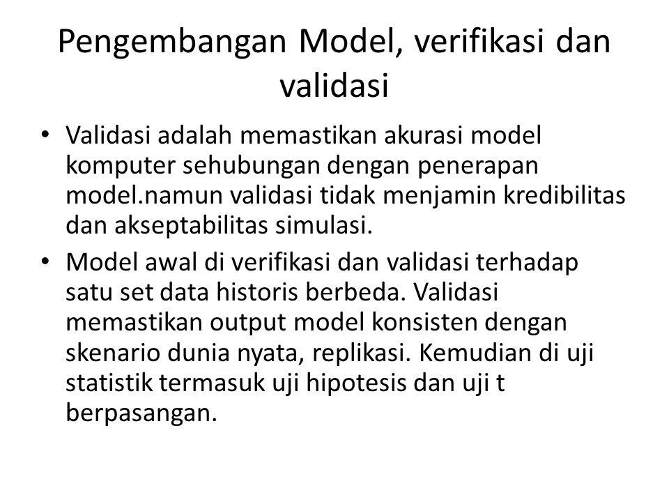 Pengembangan Model, verifikasi dan validasi Validasi adalah memastikan akurasi model komputer sehubungan dengan penerapan model.namun validasi tidak menjamin kredibilitas dan akseptabilitas simulasi.