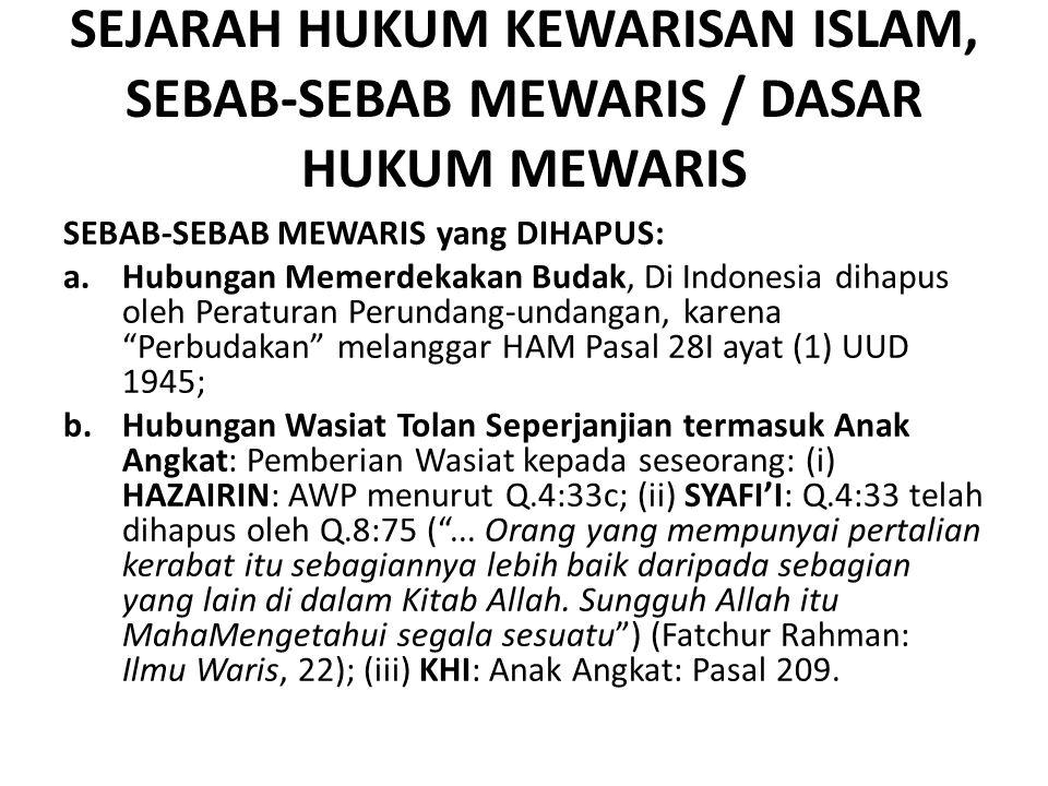 SEJARAH HUKUM KEWARISAN ISLAM, SEBAB-SEBAB MEWARIS / DASAR HUKUM MEWARIS SEBAB-SEBAB MEWARIS yang DIHAPUS: a.Hubungan Memerdekakan Budak, Di Indonesia