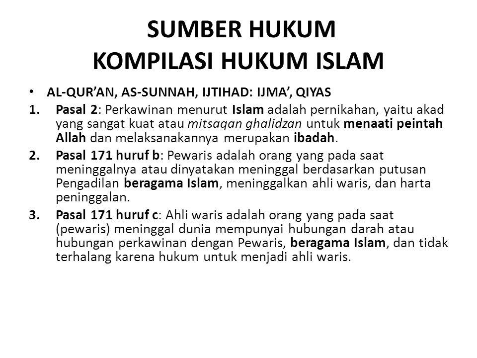 SUMBER HUKUM KOMPILASI HUKUM ISLAM AL-QUR'AN, AS-SUNNAH, IJTIHAD: IJMA', QIYAS 1.Pasal 2: Perkawinan menurut Islam adalah pernikahan, yaitu akad yang