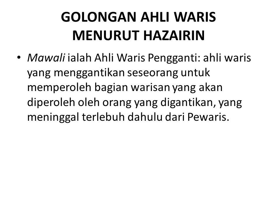 GOLONGAN AHLI WARIS MENURUT HAZAIRIN Mawali ialah Ahli Waris Pengganti: ahli waris yang menggantikan seseorang untuk memperoleh bagian warisan yang ak