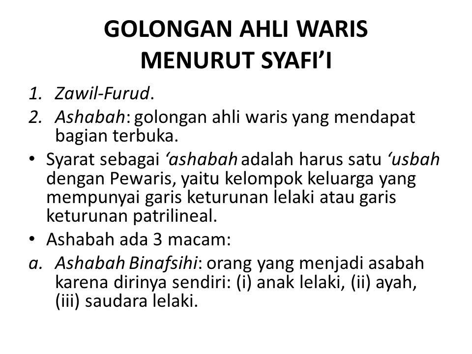 GOLONGAN AHLI WARIS MENURUT SYAFI'I 1.Zawil-Furud. 2.Ashabah: golongan ahli waris yang mendapat bagian terbuka. Syarat sebagai 'ashabah adalah harus s