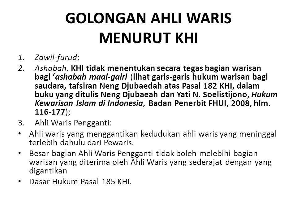 GOLONGAN AHLI WARIS MENURUT KHI 1.Zawil-furud; 2.Ashabah. KHI tidak menentukan secara tegas bagian warisan bagi 'ashabah maal-gairi (lihat garis-garis